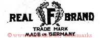 Real F Brand / Trade Mark / Made in Germany (mit Kranz / Zweigen)