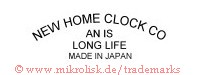 New Home Clock Co. / an is long life / Made in Japan