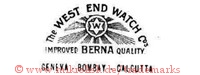 The West End Watch Co. / W / Improved Berna Quality / Geneva - Bombay - Calcutta (mit Stern und Strahlen)